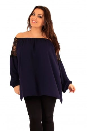 Off shoulder shirt in diverse kleuren